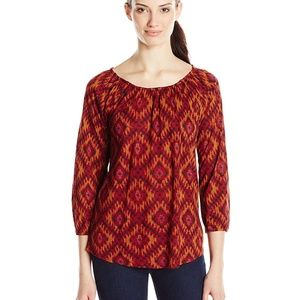 Lucky Brand Red Orange Ikat Print Top